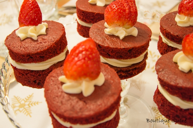 Mini cakes red velvet con crema de chocolate blanco