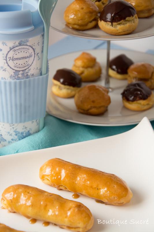 Ecleirs  de Café y Profiteroles de crema Pastelera y cubierta de Chocolate.