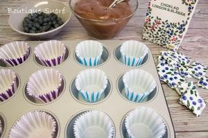 Cupcakes de Chocolate Negro y Arándanos Azules.