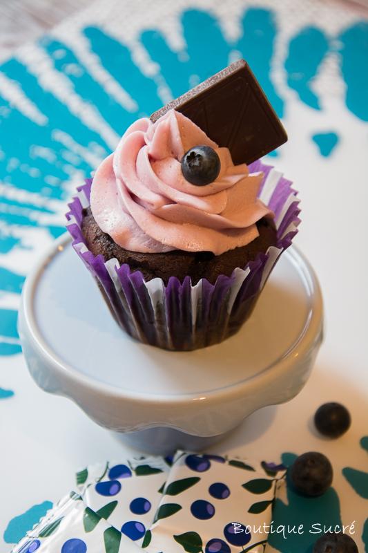 Cupcakes de Chocolate Negro y Arándanos Azule